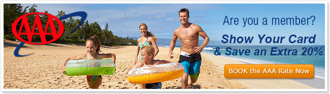 Image of family running on beach. Promotes AAA discount.