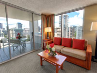 PAM 200x150 Room 1BDR Waikiki View Living Room and Lanai