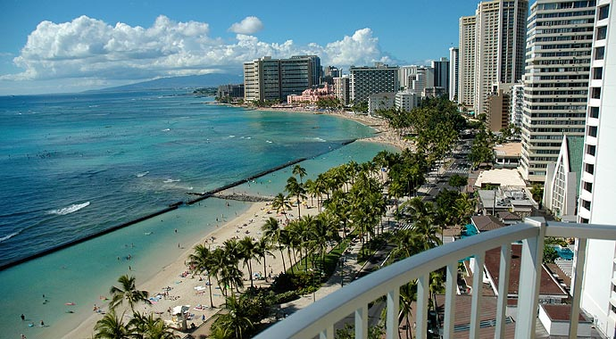 Image Of Waikiki Beach Taken From Aston Hotel Lanai